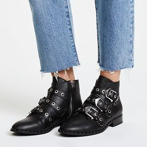Sol Sana Black Leather Buckle Maxwell Ankle Bootie